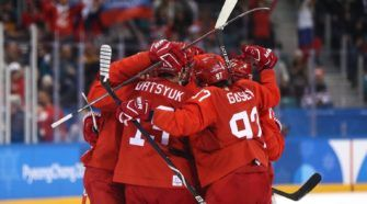 Rusland Duitsland Olympische Spelen Face-Off IJshockey