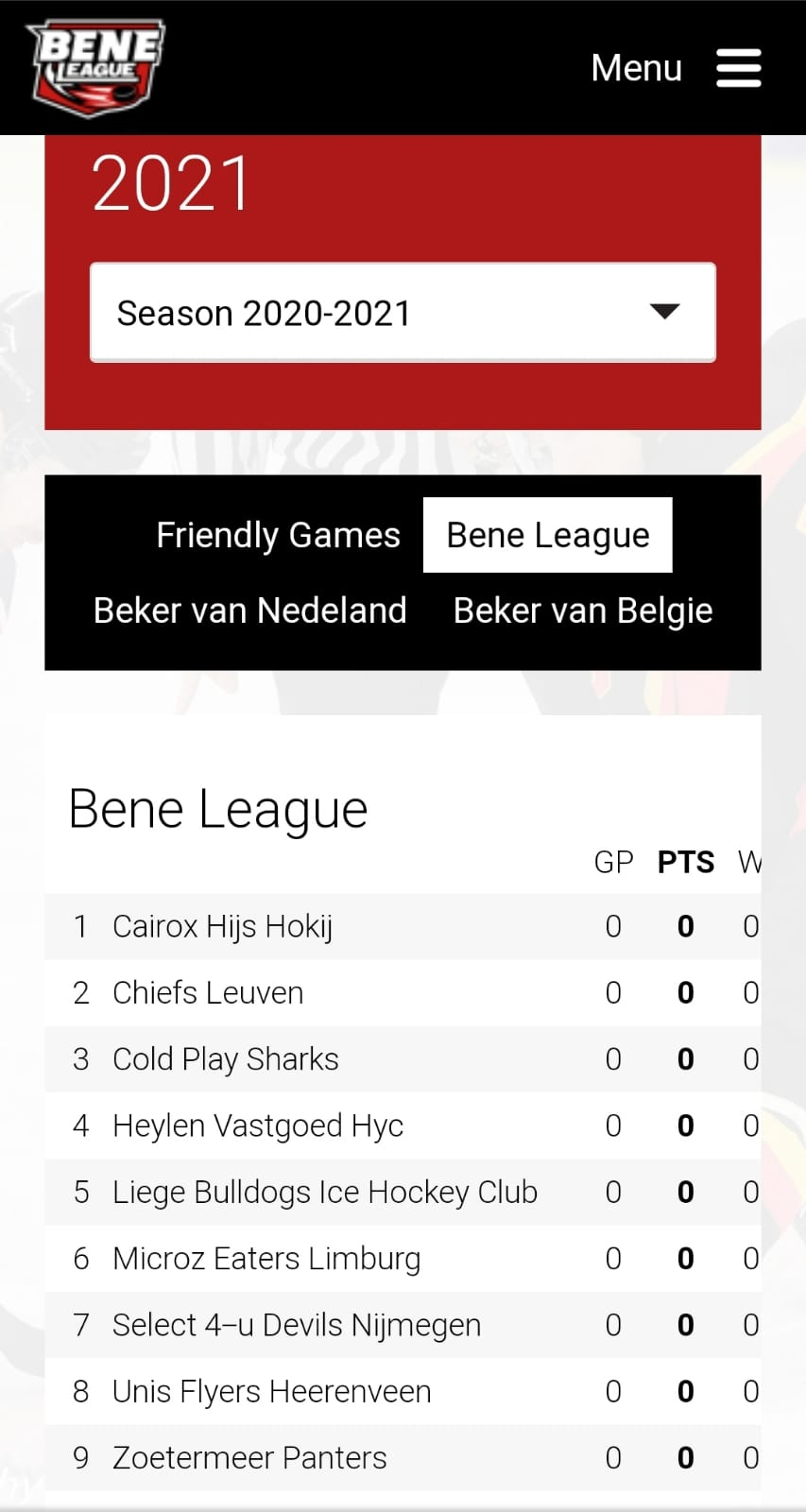 Mobiele BeNe League Site